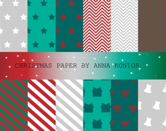 Christmas Paper digital, pattern paper, presents paper digital, christmas background, (JPG+PNG), Instant Download, Commercial Use