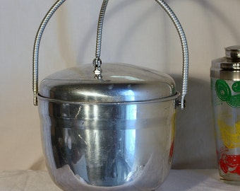 Unusual atomic aluminum ice bucket with attached lid, masculine & retro