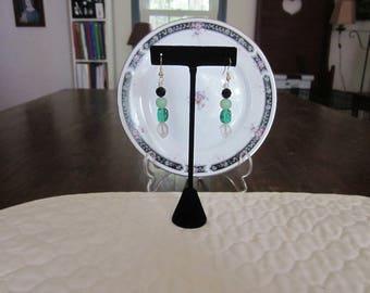 Vintage Repurposed Glass Bead Pierced Earrings, Black, Green, Clear