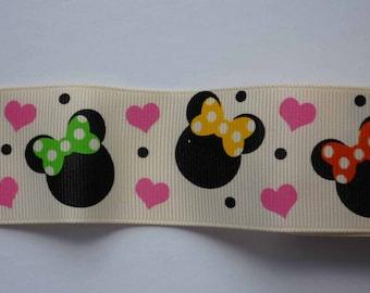 "DESTASH - Minnie Mouse Ivory Grosgrain Ribbon - 1YD - 1.5"""