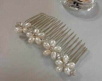 REAL Freshwater Pearl & Diamanté Flower Bridal Hair Comb