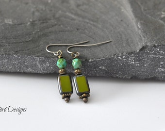 Dangle Earrings, Green Earrings, Hypoallergenic Earrings, Light Weight Earrings, Earthy Earrings, Turquoise Earrings, Antique Brass Earrings
