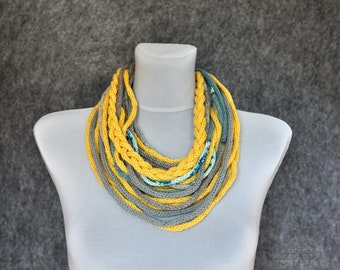 Yellow nad grey wool necklace, Textile necklace, Fiber art necklace, Spaghetti necklace, Multi strand necklace, Modern Infinity scarf wool