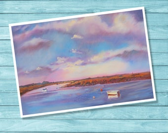 """Seascape Art Print."""" Norfolk, Winter Sky"""" From My Original Oil Painting  A4  Giclee Print"""
