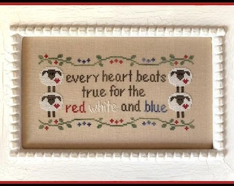 NEW! COUNTRY COTTAGE NEEDLEWoRKS Every Heart counted cross stitch patterns at thecottageneedle.com 4th of July Indpendence Day