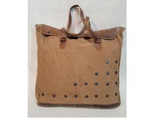Bis Zyklus Leinwand & echt Lederhandtasche, Umhängetasche, Einkaufstasche Tragetasche kleinen Knopf Design Tasche beste Geschenk für Sie