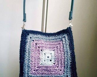 Black grey pink crossbody bag, crochet shoulder bag, granny square purse