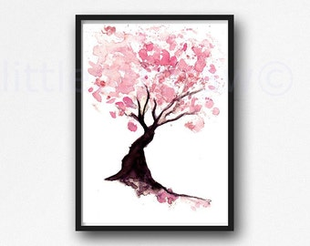 Cherry Blossom Tree Print Watercolor Painting Print Pink Wall Art Cherry Blossom Painting Pink Home Decor Living Room Decor Wall Decor
