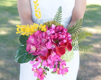 Silk Touch Tropical Hot Pink Wedding Bridal Bouquet and Boutonniere set