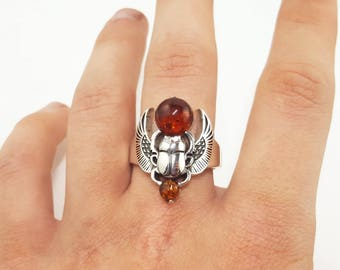 Silver Scarab Beetle Ring,Egypt Scarab,Amber stone, Black Beetle,Baltic Amber, Gold Beetle, Silver Beetle, made to order