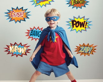 Superhero Decals Comic Wall Decals, Comic Book Pow Peel and Stick Removable and Reusable Eco-friendly Fabric Wall Decal Stickers