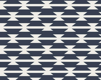 Tomahawk Stripe,  Arizona Collection,  Aztec Fabric, Art Gallery Fabrics, April Rhodes, Navy and White Fabric, ARZ-551