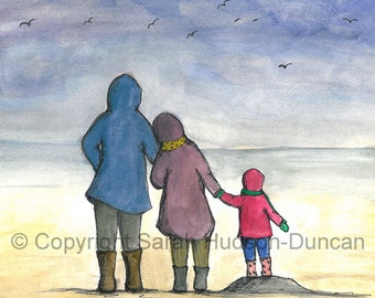 The Winter Walk. Beautiful, Quirky Art Print full of Love, Life and Hope. Signed Limited Edition Print.
