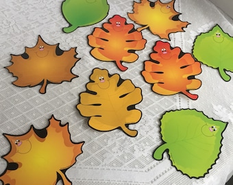 Vintage Autumn Leaves Classroom Wall Posters / Paper Anthropomorphic Fall Leaves