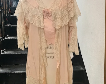 1920s Silk and Lace Dressing Gown Lingerie Robe