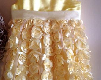 Yellow satin rosette dress