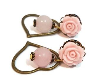 0g 8mm Plugs-Rose Quartz Plugs-Dangle Plugs-Stretched Ears-Heart Plugs-Girly Gauges-Gemstone Plugs-Rose Quartz Gauges-Girly Plugs-Jewellery