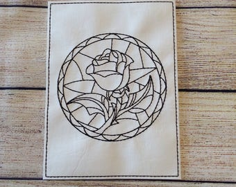 Stained Glass Rose,  Reusable, Re-usable, Vinyl, Colouring, Sheet, Washable, Pages, Green, Children, Playtime, Party Favours, Quiet Time