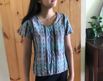 Blue and Green Faded Patterned Top