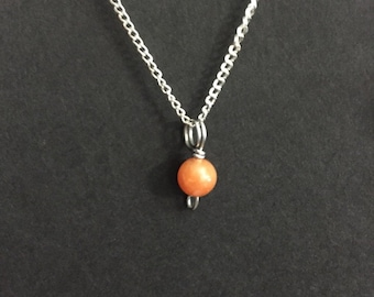 Tiny Peach Aventurine Charm Necklace