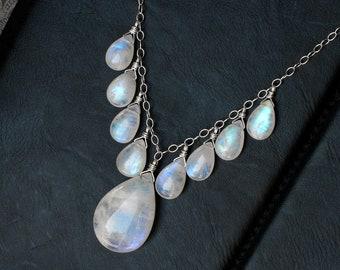 "Moonstone Necklace, Moonstone Jewelry, Rainbow Moonstone Pendant, Sterling Silver, June Birthstone, CircesHouse, ""Moonfall"""