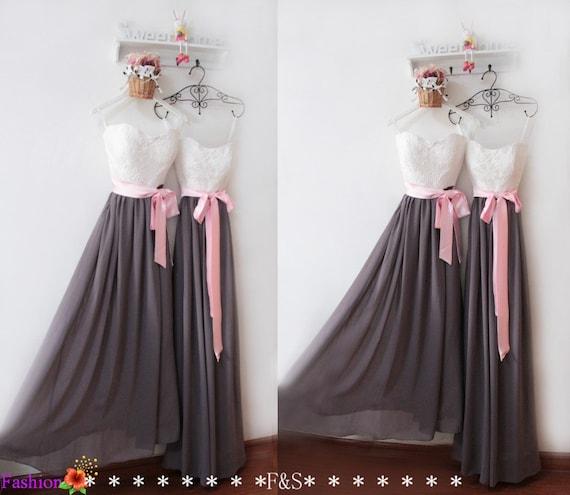 Grey Bridesmaid DressLace Bridesmaid DressBridesmaid