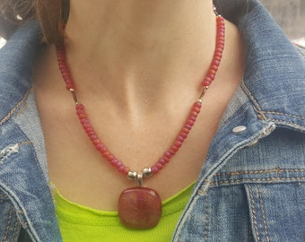 Red Necklace ~ Glass Pendant ~ Dichroic Glass ~ Glass Beads ~ One of a Kind Necklace ~ Mother's Day Gift