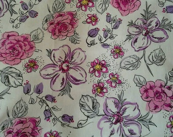 Pink and Purple Floral on White Cotton Fabric 2 Yards X0723