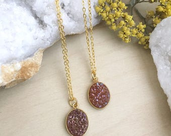 Oval Druzy Necklace Dusty Rose Bronze Real Druzy Pendant Delicate Gold Chain Minimal Drusy Gift for Her Under 30 by Girlwiththepearl