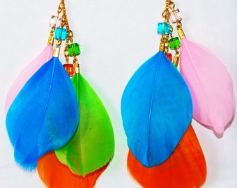 Multicolor Feather Bright Summer Party Earrings
