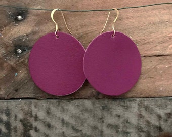 Wine Leather Circle Earrings