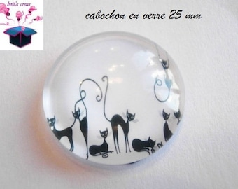 1 cabochon clear 25 mm round black cat silhouette theme