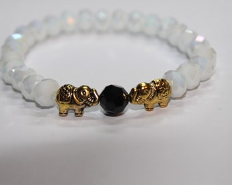 White elephant beaded bracelet