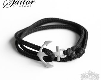 SAILOR of steel - black Anker Wickelarmband Edelstahl