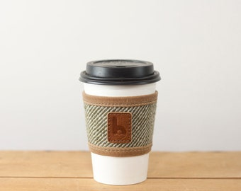 Bev Sleeve | Coffee, Pint Glass, Reusable, Handcrafted of Wool & Waxed Canvas