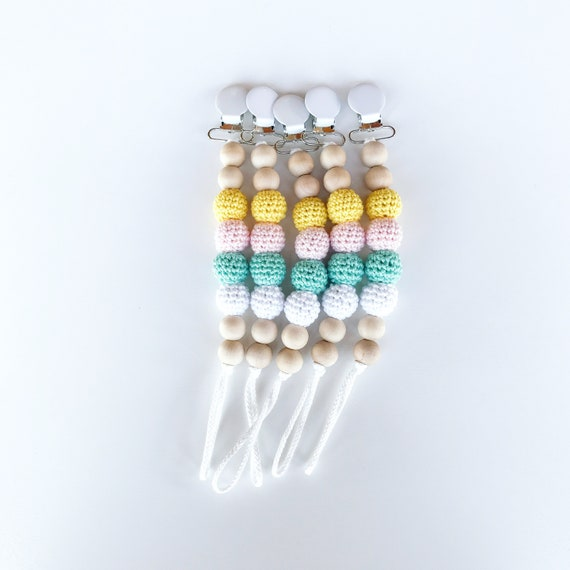 NomiLu Crocheted Clip -  Crocheted Beads Pacifier Clip -- Eco-friendly pacifier clip -- crocheted wooden beads -- Baby Teether