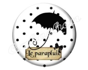 2 cabochons 18mm glass, Mary Poppins, black and white polka dot umbrella