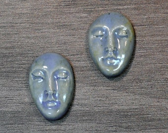 Pair of Two Medium Almond Ceramic Face Stone Cabochons in Castile Blue