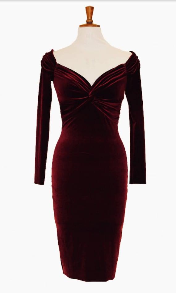 Cocktail dress burgundy velvet dress midi dress evening