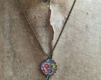 "Tin Jewelry Necklace ""Small Flower"" Tin for the Ten Year Tenth Wedding Anniversary"