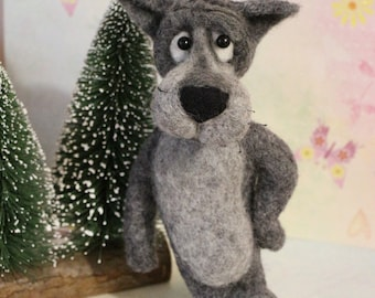 gray wolf toy wool gift interior toy