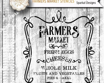 SALE.50%.OFF Farmers Market Sign Digital Stencil, Quotes Cutting design, Wood Sign Stencil, SVG Cut File Cricut design Space, Silhouette Stu