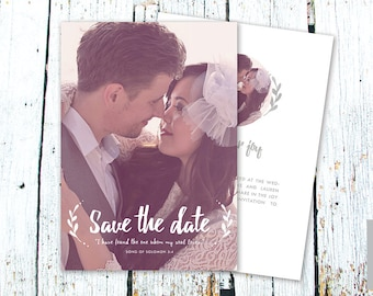 Sale! Save the Date Card Template for Photographers, Instant Download, PSD Files, 5x7 Photo Card Template, Photography, Calligraphy, Wedding