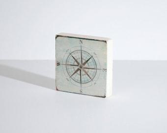 Compass Art Block, Art Blocks, Boho Art, Wood Printing, Wood Block Art, Small Art, Nautical Print, Adventure Print, Beach House