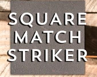 "Square Match Striker Paper. Safety Matches. 2"" Self Adhesive. Fits Mason Jar Lid. Bulk Refills Volume Mass Large Quantity Wholesale Supplies"