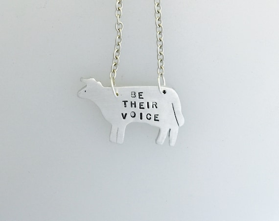Donation-Be Their Voice Cow Necklace-Portion of Proceeds Goes to Green Acres Farm Sanctuary-Vegan Necklace-Vegan Gift-Farm Animals-cows