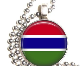 Islamic Republic of the Gambia Flag Pendant, Earrings and Keychain, Round Photo Silver and Resin Charm Jewelry, Flag Earrings, Flag Key Fob