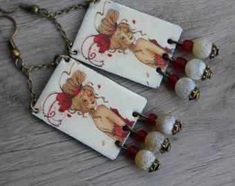 """""""blonde"""" poetic beauty, vintage shabby Bohemian, boho earrings, handmade, red enameled copper, anne soline, illustration"""