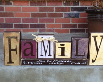 Family is everything primitive wood block set gift home decor wedding anniversary birthday christmas sign gift