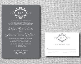 Printable Custom DIY Wedding Invitation - Vintage Ornate Monogram Script